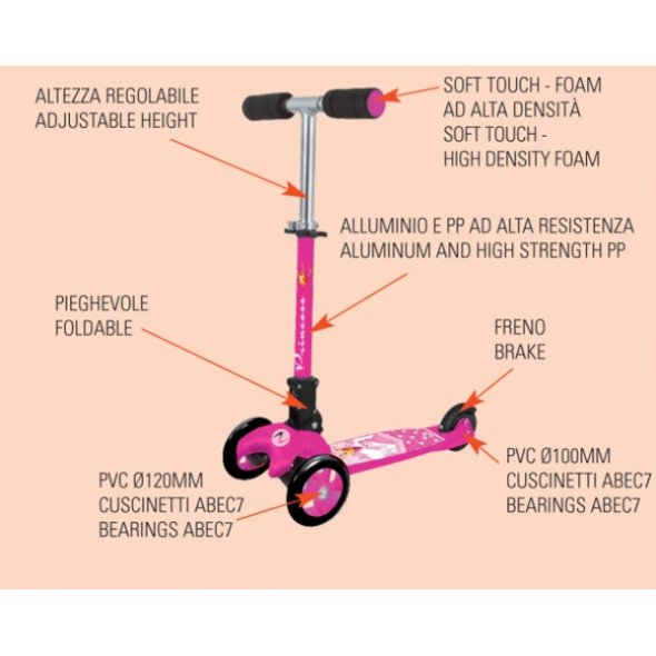 scooter princess με τρις ρόδες nectreme χαρακτηριστικά